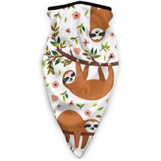 Cute Sloth On The Tree With FunnySun UV Dust Face Scarfheadwear (3.94*3.94*0.79 inches). Polyester.