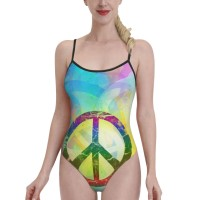 Designed Abstract Peace SignWomens Swimwear One Piece Swimsuitsbeach games,Polyester.