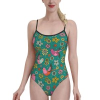 Doodle Birds Floral PatternWomens Swimwear One Piece Swimsuitsspa,Polyester.