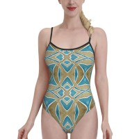 Dusty Brown And Lake Blue Watercolor PatternWomens Swimwear One Piece Swimsuitsswimming pool,Polyester.