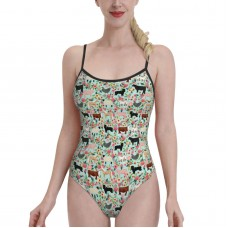 Farm Animals Cow Sheep Goat Chicken Floral Fabric MintWomens Swimwear One Piece Swimsuitsswimming pool,Polyester.