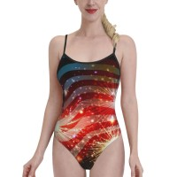 Fireworks American FlagWomens Swimwear One Piece Swimsuitsswimming pool,Polyester.