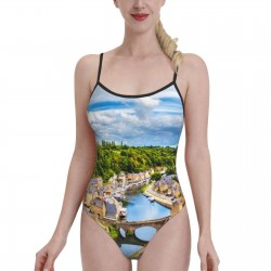France Dinan Rance River LandscapeWomens Swimwear One Piece Swimsuitsswimming pool,Polyester.