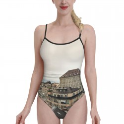 Lausanne CathedralWomens Swimwear One Piece Swimsuitsswimming pool,Polyester.