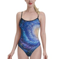 Mysterious Cosmic Worm HoleWomens Swimwear One Piece Swimsuitsswimming pool,Polyester.
