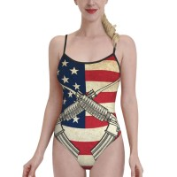 Retro American Flag With GunsWomens Swimwear One Piece Swimsuitsswimming pool,Polyester.
