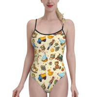 Retro Vintage Doll Rocking HorseWomens Swimwear One Piece Swimsuitsswimming pool,Polyester.