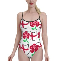 Rose And St George's FlagWomens Swimwear One Piece Swimsuitshoneymoon,Polyester.