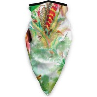 Watercolor Wild Exotic Birds FlowersSun UV Dust Face Scarfwristband (3.94*3.94*0.79 inches). Polyester.