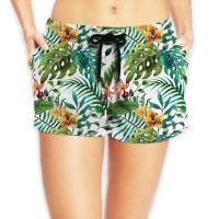 Women's Cotton Beach Shorts with Drawstringsurfing. Polyester.